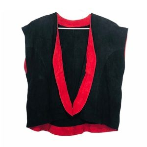 Vntg 90s Suede Sleeveless Jacket Black Red Open L